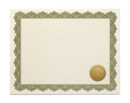 grado: Gran Diploma con Copyspace y sellar aislado sobre fondo blanco.