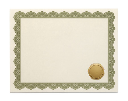 copyspace: Large Diploma with Copyspace and Seal Isolated on White Background.