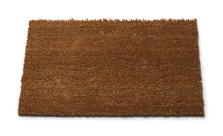 welcome home: Front Door Mat with Copy Space Isolated on White Background. Stock Photo