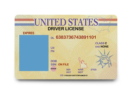 id: US Driver License with Copy Space Isolated on White Background.