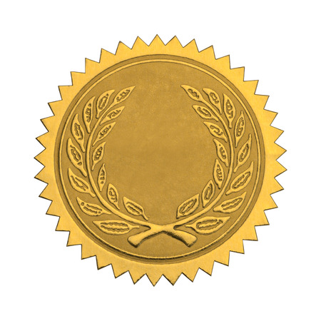 seal stamper: Gold Foil Seal with Wreath and Copy Space Isolated on White Background. Stock Photo