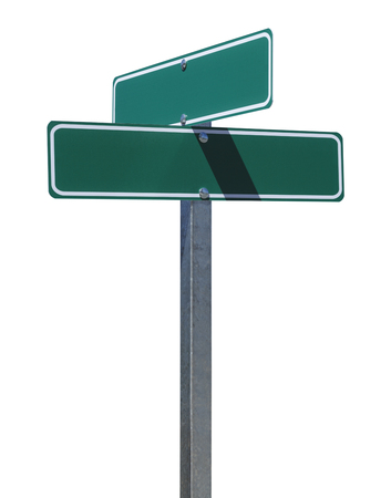 directional sign: Two Green Street Signs on Metal Pole With Copy Space Isolated on White Background. Stock Photo