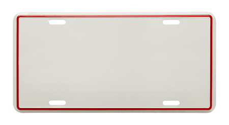 plate: Metal License Plate With Copy Space Isolated on White Background. Stock Photo