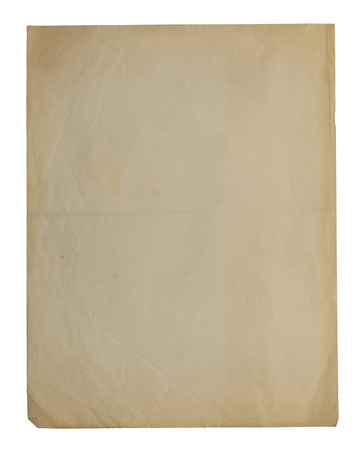 patched: Old White Paper with Aged Edges Isolated on White Paper.
