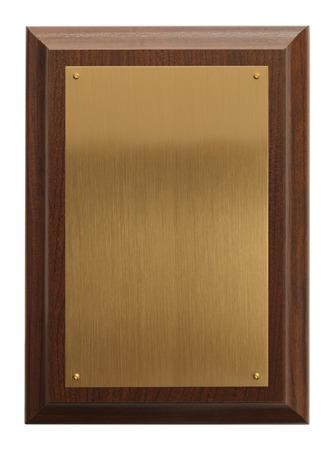 白い背景に分離されたコピー スペースを持つ真鍮賞のプラク。