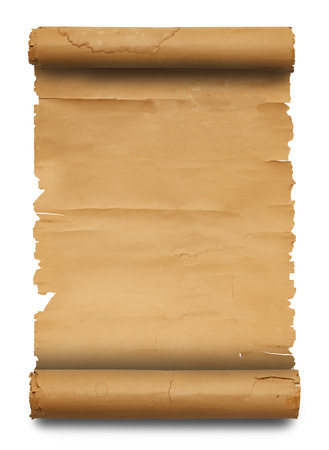 patched up: Blank Paper Scroll with Copy Space Isolated on White Background. Stock Photo