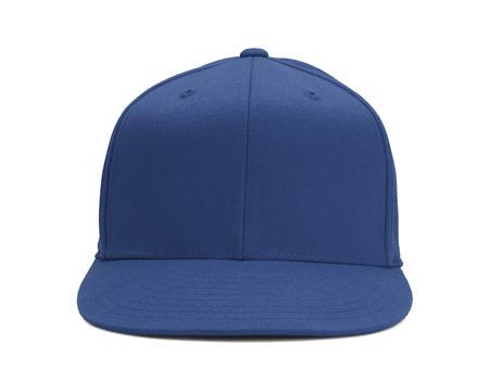 白い背景に分離されたコピー スペースの青い野球帽子正面。