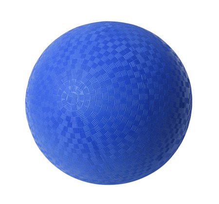 kickball: Blue Rubber Ball Isolated on White Background. Stock Photo