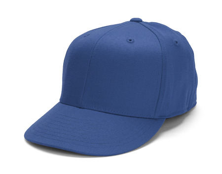 blue print: Blue Baseball Hat With Copy Space Isolated on White Background. Stock Photo