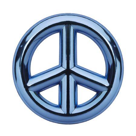metalic: Metalic Blue Peace Symbol Isolated on White Background.