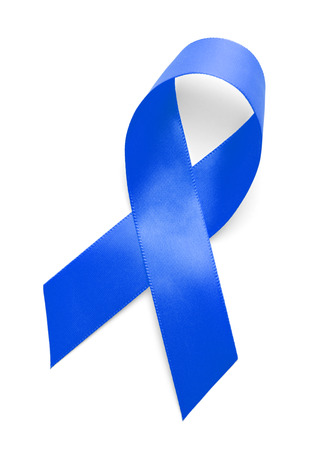 cancer research: Blue Ribbon Isolated on White Background.