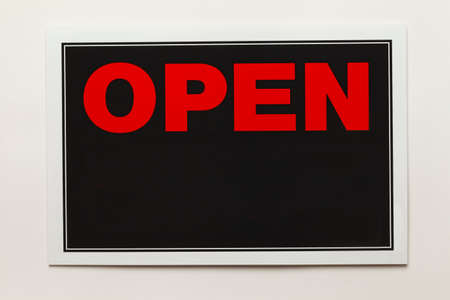 Open Sign with Copy Space Isolated on White Background. photo