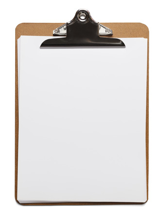 Classic brown clipboard with blank white paper on isolated background.