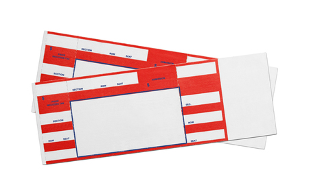 Pair of Blank Red Concert Performance Tickets Isolated on White Background. Stock Photo