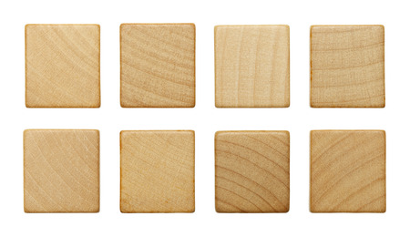 Eight Blank Wood Scrable Pieces Isolated on White Background.