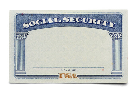 security laws: Blank Social Security Card Isolated on a White Background.
