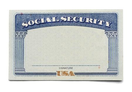 seguridad laboral: Tarjeta en blanco de la Seguridad Social Aislado en un fondo blanco.