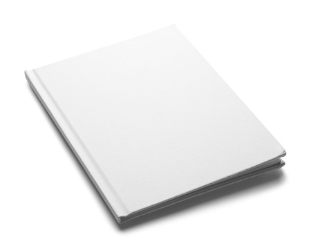 medium shot: White Hardback Book with Copy Space Isolated on White Background. Stock Photo