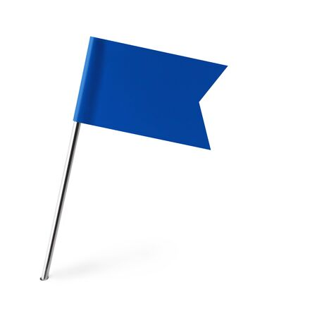 pin entry: Blue Banner Flag Isolated on White Background. Stock Photo