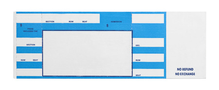 Blank Blue Concert Performance Ticket Isolated on White Background.