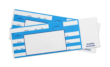 Pair of Blank Blue Concert Performance Tickets Isolated on White Background.