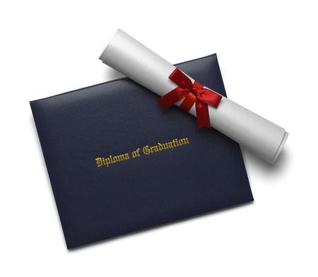ged: Blue Diploma of Graduation Cover with Degree Scroll Isolated on White Background. Stock Photo