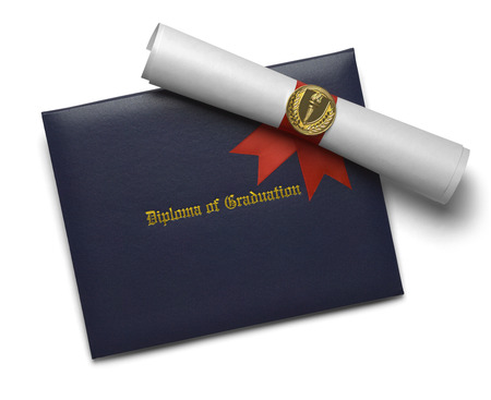 morter: Blue Diploma of Graduation Cover with Degree Scroll and Torch Medal Isolated on White Background.