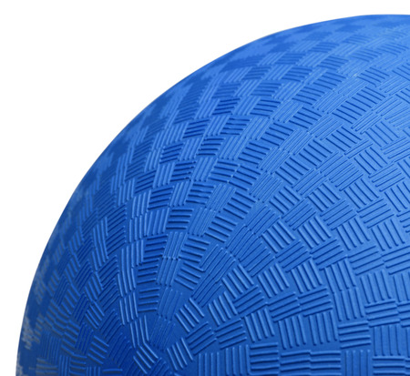 kickball: Close up Section of Blue Dodge Ball Isolated on White Background. Stock Photo