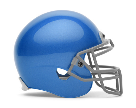 solid blue background: Side View of Blue Foot Ball Helmet with Copy Space Isolated on White Background.