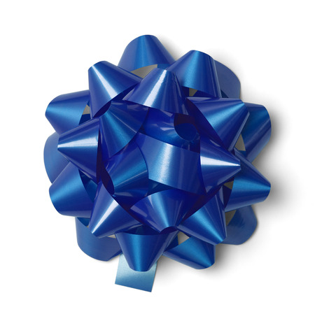 gift wrapping: Classic Blue Present Bow Isolated on White Background.