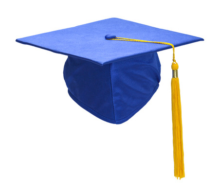 ged: Blue Graduation Hat with Gold Tassel Isolated on White Background.