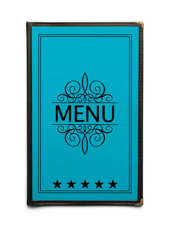 Blue Generic Restaurant Menu with Five Stars Isolated on White Background. Stock Photo