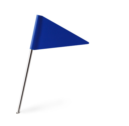 distant spot: Blue Pennant Flag Isolated on White Background. Stock Photo