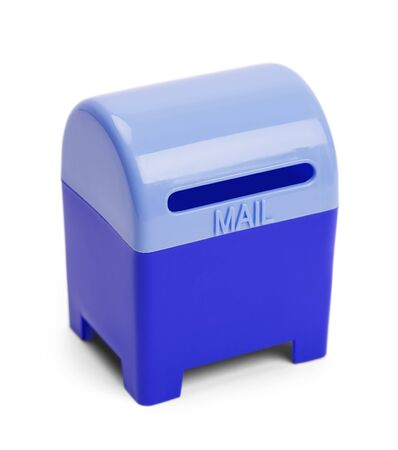 usps: Blue Mail and Letter Drop Box Isolated on White Background.