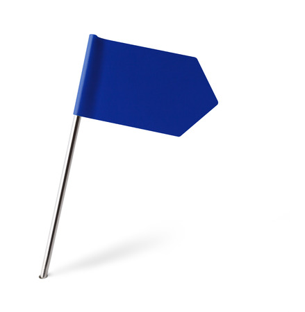 distant spot: Blue Sign Flag Isolated on White Background. Stock Photo