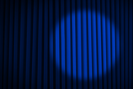 lighting background: Blue Velvet Movie Curtains with Round Spotlight. Stock Photo