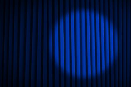 lighting background: Blue Velvet Movie Curtains with Round Spotlight. Stock Photo