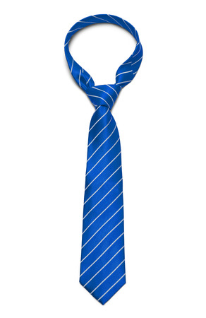 Blue and White Striped Tie Isolated on White Background.