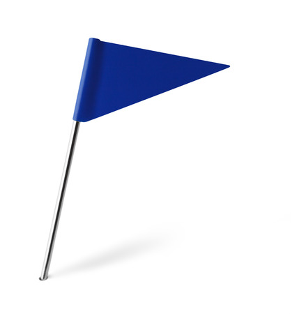 distant spot: Blue Triangle Flag Isolated on White Background. Stock Photo
