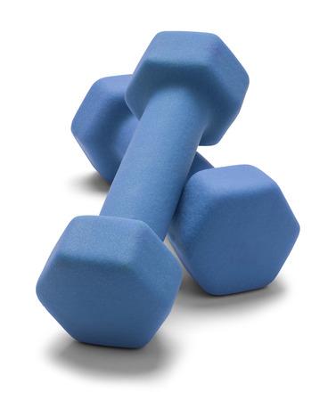 Blauwe Work Out gewichten geïsoleerd op witte achtergrond.
