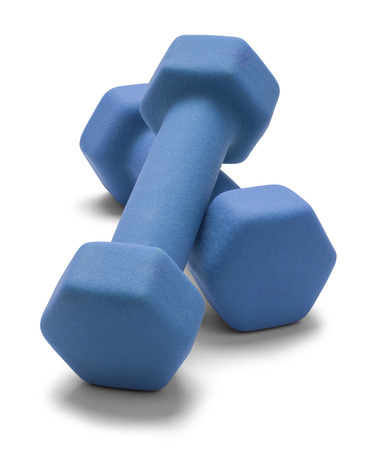 weight weightlifting: Blue Work Out Weights Isolated on White Background. Stock Photo