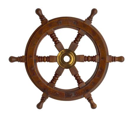 rack wheel: Wood Ship Wheel Isolated on White Background.