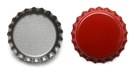 Red Bottle Caps Isolated on White Background. Banco de Imagens