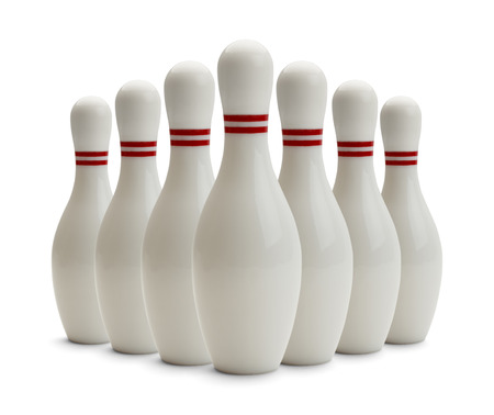 bowling strike: Group of Bowling Pins Isolated on White Background.