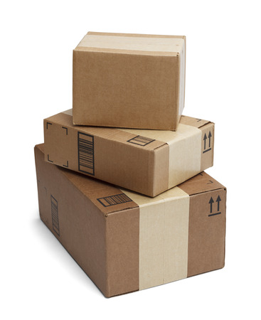 Three Boxes Stacked Tall Isolated on White Background. photo