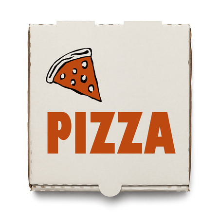 pepperoni pizza: Cardboard Pizza Box Isolated on White Background.