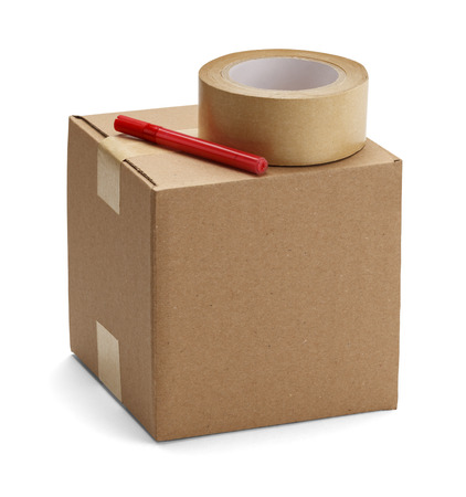 Brown cardboard box with packaging materials isolatedon a white background. Stok Fotoğraf - 38259381