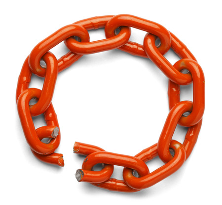 Chain circle of trust broken, isolated on a white background. photo