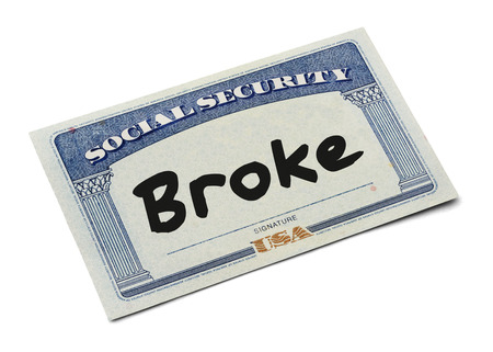 id theft: Social Security Card WIth the Word Broke Isolated on White Background. Stock Photo