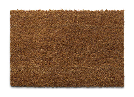 welcome symbol: Natural Fiber Welcome Mat with Copy Space Isolatedon White Background.